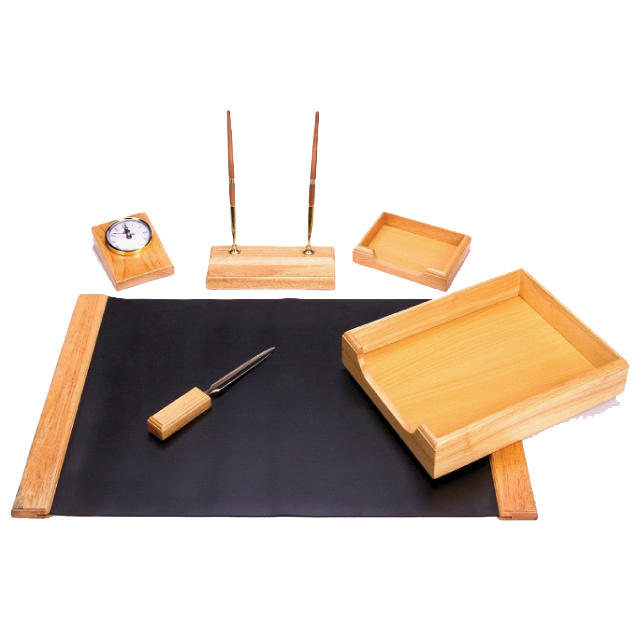 6 Piece Natural Oak Wood Desk Set