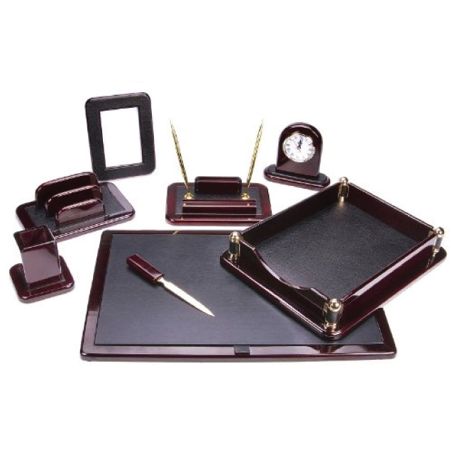 8 Piece Dark Burgundy Wood Desk Set